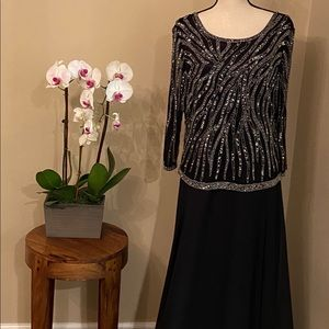 J Kara beaded overlay gown black , size 18 W